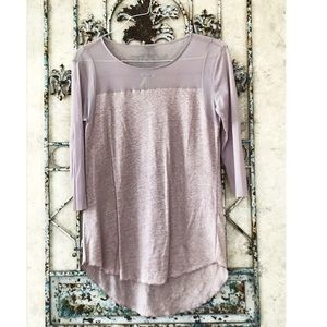Sheer mauve top w/linen/poly blend bodice!🌸